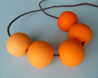 Ombre Orange Spherical Polymer Necklace