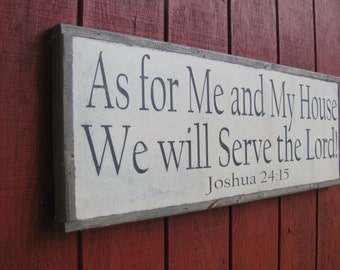 "Joshua 24: 15 Wood Sign As For Me and My House Wooden 13""x37"" Scripture Wall Art Bible Verse Wood Sign Large Wooden Sign Christmas Gift"