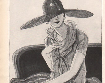THREE FOR FOUR Art Deco era fashion print from Vogue magazine, front & back - fash 128