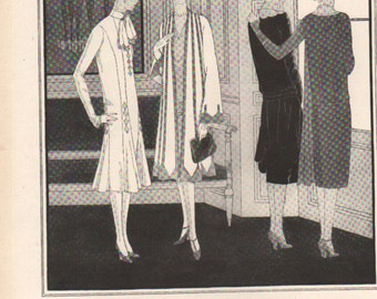THREE FOR FOUR Art Deco era fashion print from Vogue magazine, front & back - fash 263