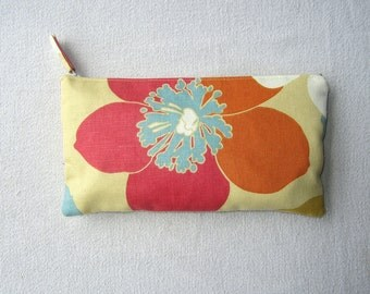 Clutch Purse in Large Bright Floral Print