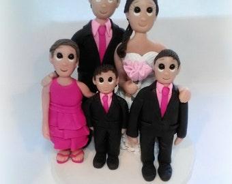 Custom Pink Family Wedding Cake Topper