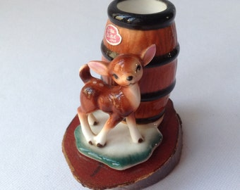 Bambi Toothpick Holder on a piece of Cedar Wood