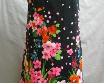 """Vintage 60d MOD Floral Cotton Knit SHIFT DRESS Trapeze Summer Flower Power Bust 43"""""""