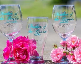 Mother of the Bride/Groom 18.5 oz wine glasses, Father of the Groom/ Bride 19 oz beer glass, Turquoise, silver.Priced individually