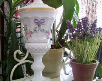 Vintage Westmoreland Roses and Bows Milk Glass Hand Painted Urn Cottage Decor