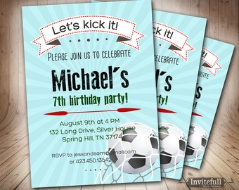 Soccer Birthday Invitation for boys,6th 9th 8th 11th Boy Birthday Invitation,Printable invitation Kids Football Soccer birthday invitation