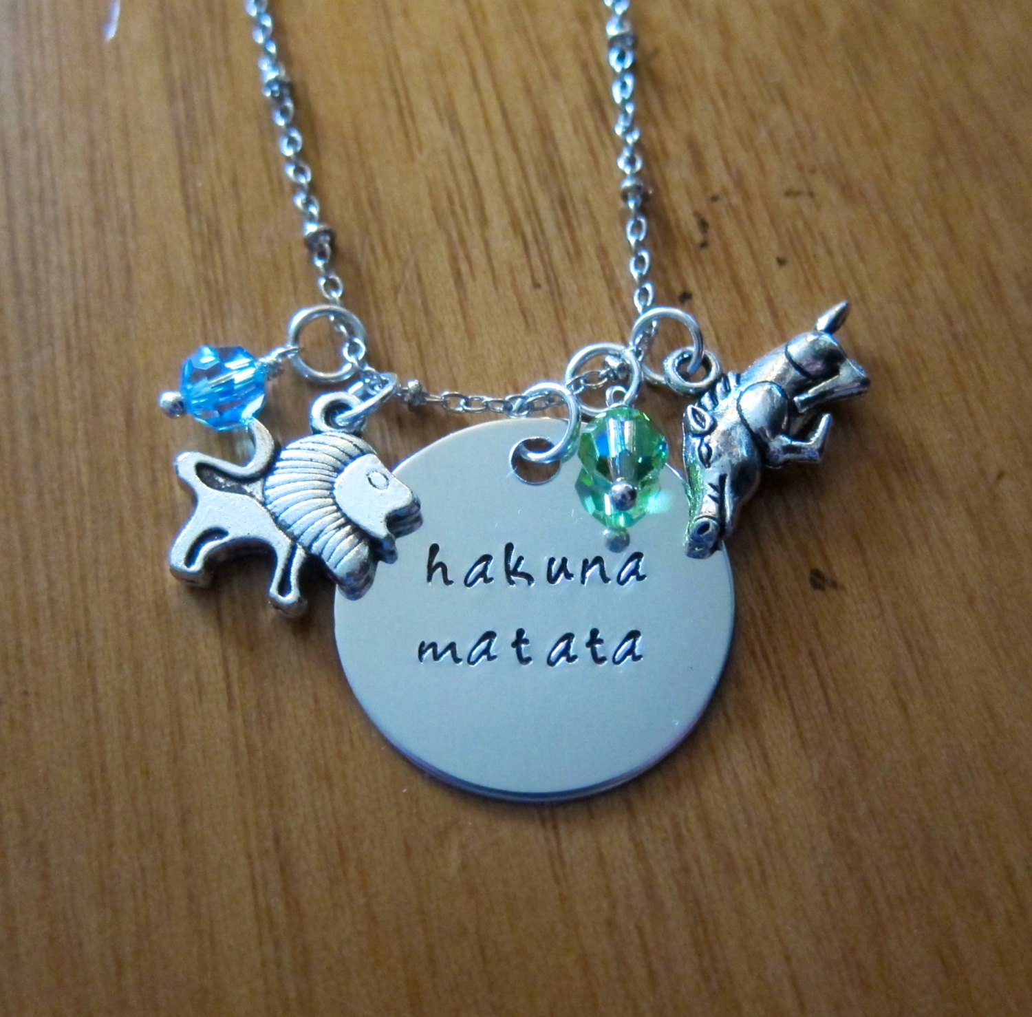 Lion King Inspired Necklace Hakuna Matata Silver Colored