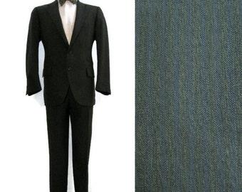 Vintage 50s 60s Suit Men's Green Blue Pinstriped Jacket & Pants 42 Mod Mad Men