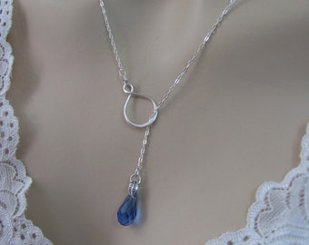 Sapphire Infinity Lariat Necklace in Sterling Silver, Sapphire Swarovski Crystal Necklace, September Birthstone, Blue Crystal Necklace