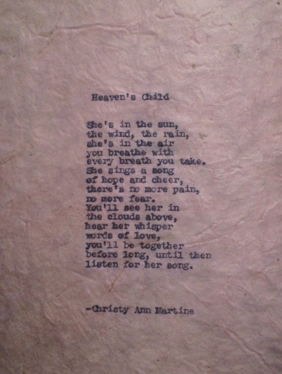Sympathy Gift Poem Loss of Child Baby Girl by ...