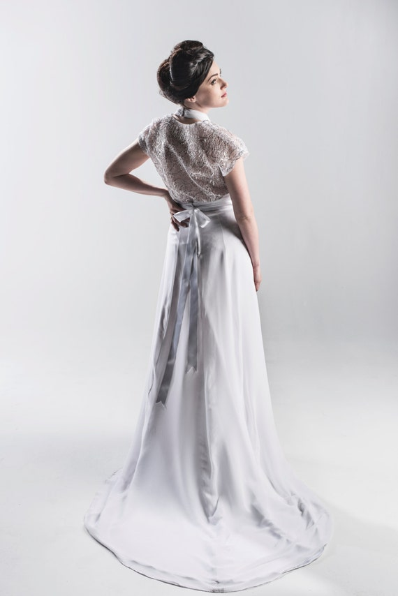 1920s Inspired White Halter Wedding Dress With By