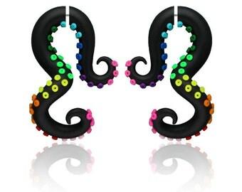 Rainbow Fake Gauge Earrings or Rainbow Fake Gauges / Octopus Gauge, Tentacles, Polymer Clay 6g 5g 4g 3g 2g 1g 0g 00g 7/16 1/2 9/16 5/8 3/4