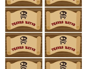 Pirate Favor Tags, Thank You Tags, Loot Bag Tags, Pirate Birthday Printable, Pirate Party Decorations