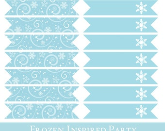 Frozen Inspired Straw Flags, Drinking Straw Flag, Straw Flags printable, Frozen Inspired Birthday Printable, Frozen Party Decorations