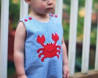 Boys Shortall with Crab Applique
