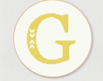 Cross stitch letter G pattern with chevron detail, instant digital download