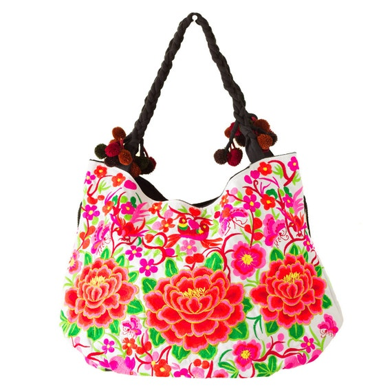 Rose large tote hmong bag embroidered thailand fair trade
