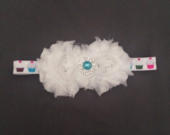 Cupcake Bow with White Shabby Chic Roses and Fancy Crystal and Pearl Center Piece, Teal
