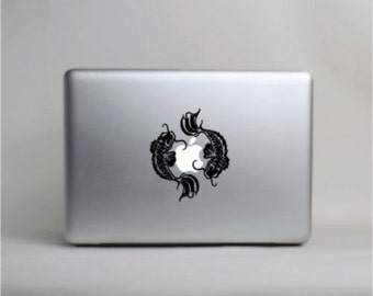 Koi Fish Laptop Vinyl Decal Small © 2013 Laced Up Decals SKU:Koi Fish Blk Sm