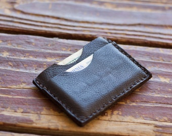 Minimalist Leather Card Holder with Cash Pocket