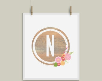 Shabby Chic Letter N Initial Monogram Alphabet Nursery Art Great for Weddings and Gallery Walls