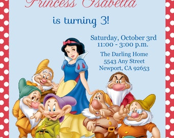 Snow White Invitation, Disney Princess, Kid's Birthday Party Invite, Birthday Invitation
