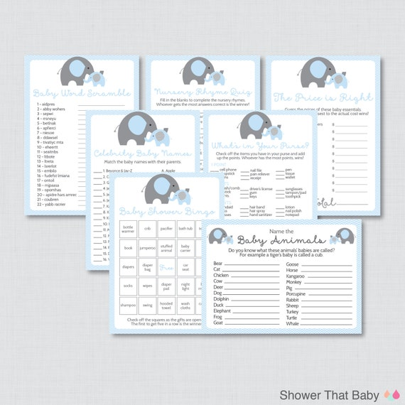 Elephant Baby Shower Games Package in Blue and Gray Seven