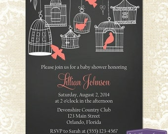 Coral Baby Shower Invitation - Hanging Bird Cages Baby Shower Invite - Girl Baby Shower Invite - Chalkboard Baby Shower - 1164 PRINTABLE