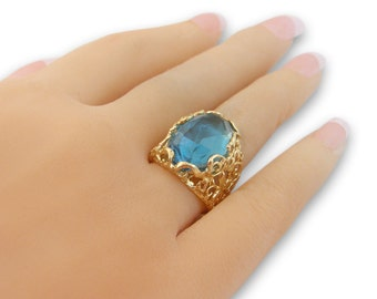 14K Gold Ring- Gold Filled Jewelry Blue stone ring, gifts for women
