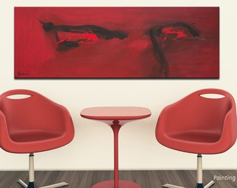 Eye painting, Eye art, Red abstract art, Abstract eye painting, Modern painting wall decor, Extra large painting Gift for her by Rasko