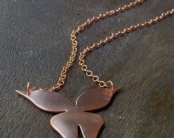 Large Copper Butterfly Necklace