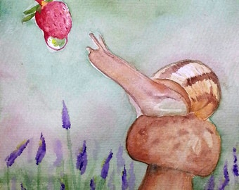Print snail with strawberry watercolor painting original