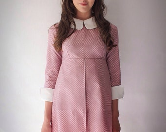 1960's Reproduction Mod Dress, Suzy Bishop style Rose pink and white polkadot, contrast Peter Pan collar and cuffs