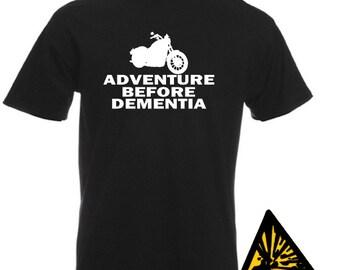 Motorcycle Adventure Before Dementia T-Shirt Joke Funny Tshirt Tee Shirt Motorbike