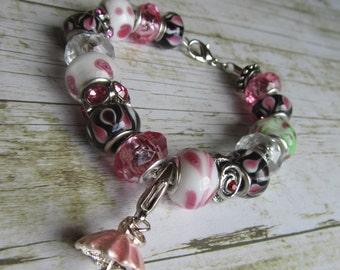 Pink Charm Bracelet,European Style Bracelet,Pink Bracelet,Umbrella Charm Bracelet,Silver Bracelet,Umbrella Charm,Gifts,Charm Bracelets