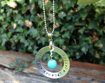 Personalised hand stamped necklace - 3 names