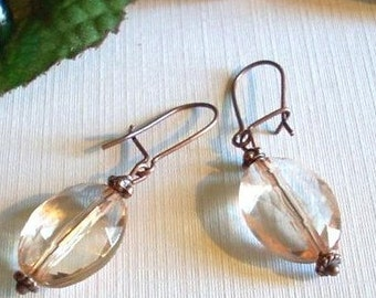 Peach Crystal and Antiqued Copper Earrings