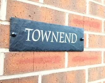 Slate House Sign Door Number House Name Sign Plaque Address Any Name 1 - 9999  LARGEST SIZE A3 - 40x30cms   free postage
