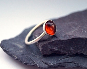 Amber Sterling Silver Ring ~ statement ring, stacking ring, gemstone, birthstone, solitaire ring