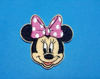 Iron on Sew on Patch:  Pink Polka Dot Bow Minnie Mouse