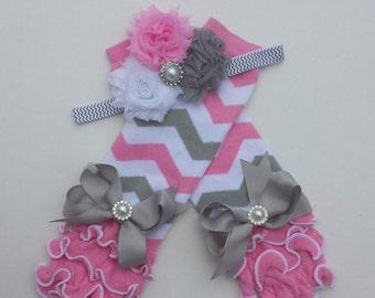 Pink gray & white headband and legwarmer set, chevron headband, chevron legwarmers, baby girl, toddler, photo prop, girls, tutus, sets