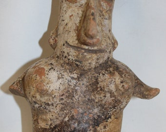 Mexico Pottery : Pre-Columbian Polychrome Jalisco Seated Female Figure from Western Mexico #383