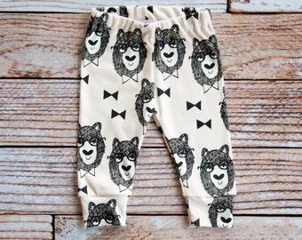 organic baby leggings, baby pants, baby leggins, toddler pants, organic toddler leggings, bowtie, bowtie bear, organic baby