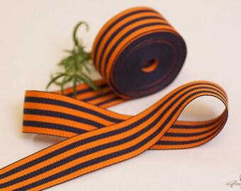 "CLEARANCE – 50% OFF – was USD 7.15 – Navy Blue and Bright Orange Ribbon 1"" – 3 yards – ribbon headband – headband – wedding (RB04-1-100)"