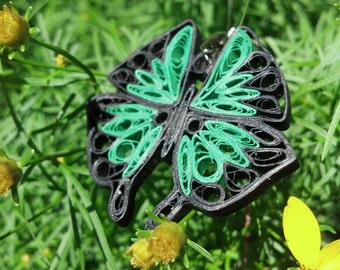 Green Paper Quilled Butterfly Pendant - paper quilling jewelry, paper quilled butterfly, paper jewelry, butterfly necklace, green butterfly