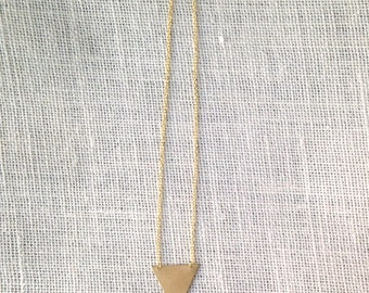 Vicky Necklace - Large Golden Brass Triangle Necklace - Geometric Statement Jewelry - Summer Trends - Accessories For Her - Gift Ideas