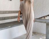 Viscose  Maxi Dress / Beige Kaftan / Asymmetric Plus Size Dress / Oversize Loose Dress / #35002