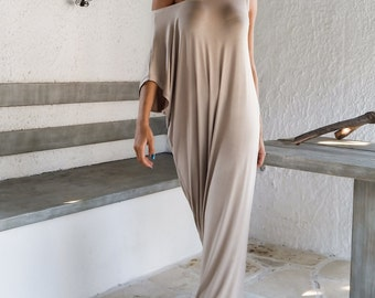 Viscose  Maxi Dress / Beige Kaftan / Asymmetric Plus Size Dress / Oversize Loose Dress / #35002