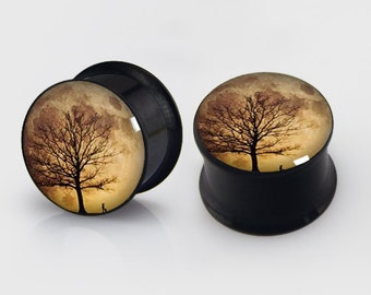 Tree Moons Earplugs,PAIR Steel Double Flare Tunnels Ear Plugs Earlets Gauges.2pcs with gift box